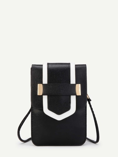 Contrast Trim PU Flap Cross Body Bag