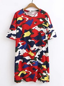 Camouflage Print Tee Dress