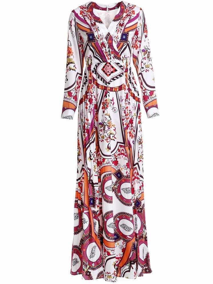 Фото V Neck Floral Maxi Dress. Купить с доставкой