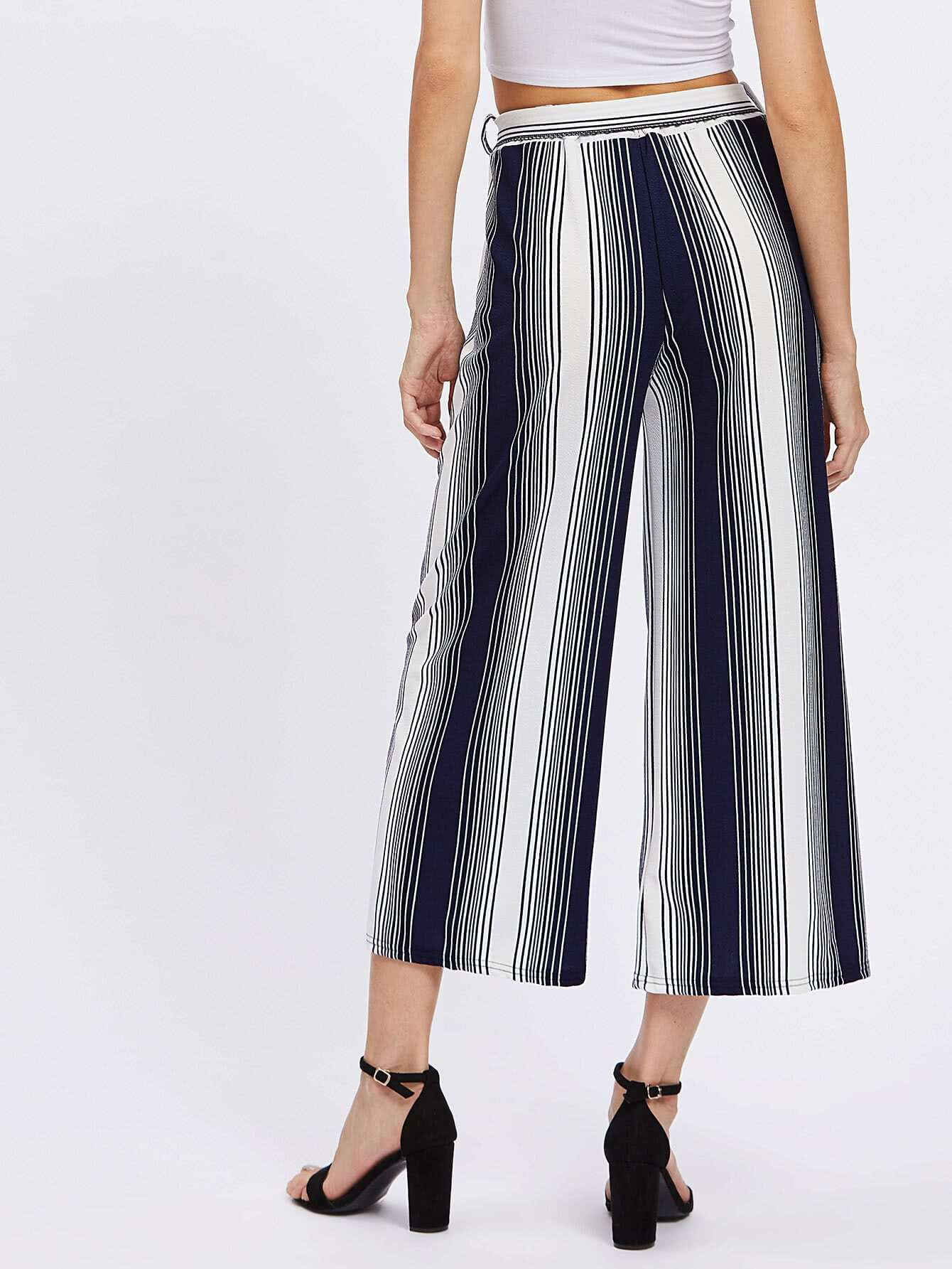 Pantalones de rayas verticales con cord n spanish romwe - Paredes a rayas verticales ...