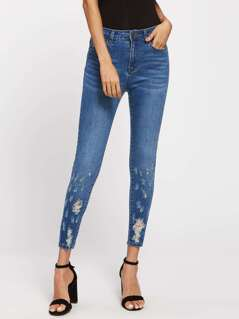 Rips Detail Skinny Jeans