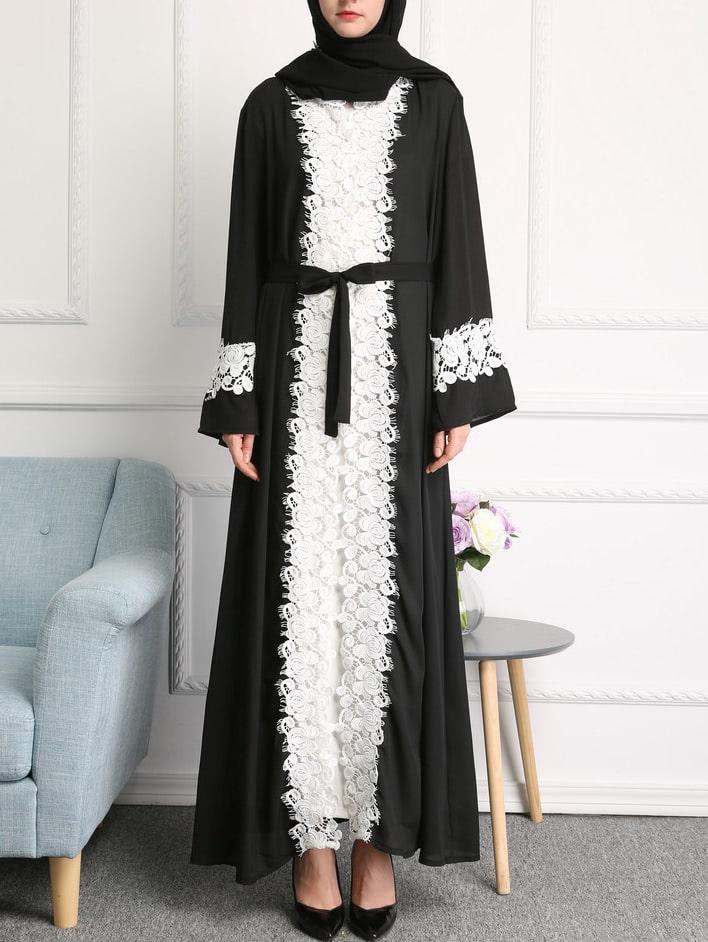 Фото Contrast Floral Eyelash Lace Trim Abaya With Belt. Купить с доставкой