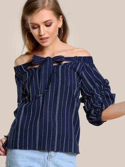 Off Shoulder Striped Ruched Sleeve Top NAVY