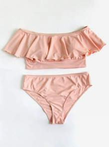 Conjunto de bikini de hombro al aire con volante