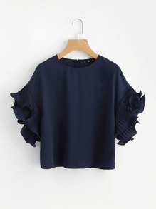 Layered Pleated Lettuce Hem Ruffle Sleeve Top