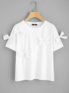 Bow Embellished T-shirt