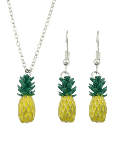 Simulation Pineapple Earrings Necklace Set