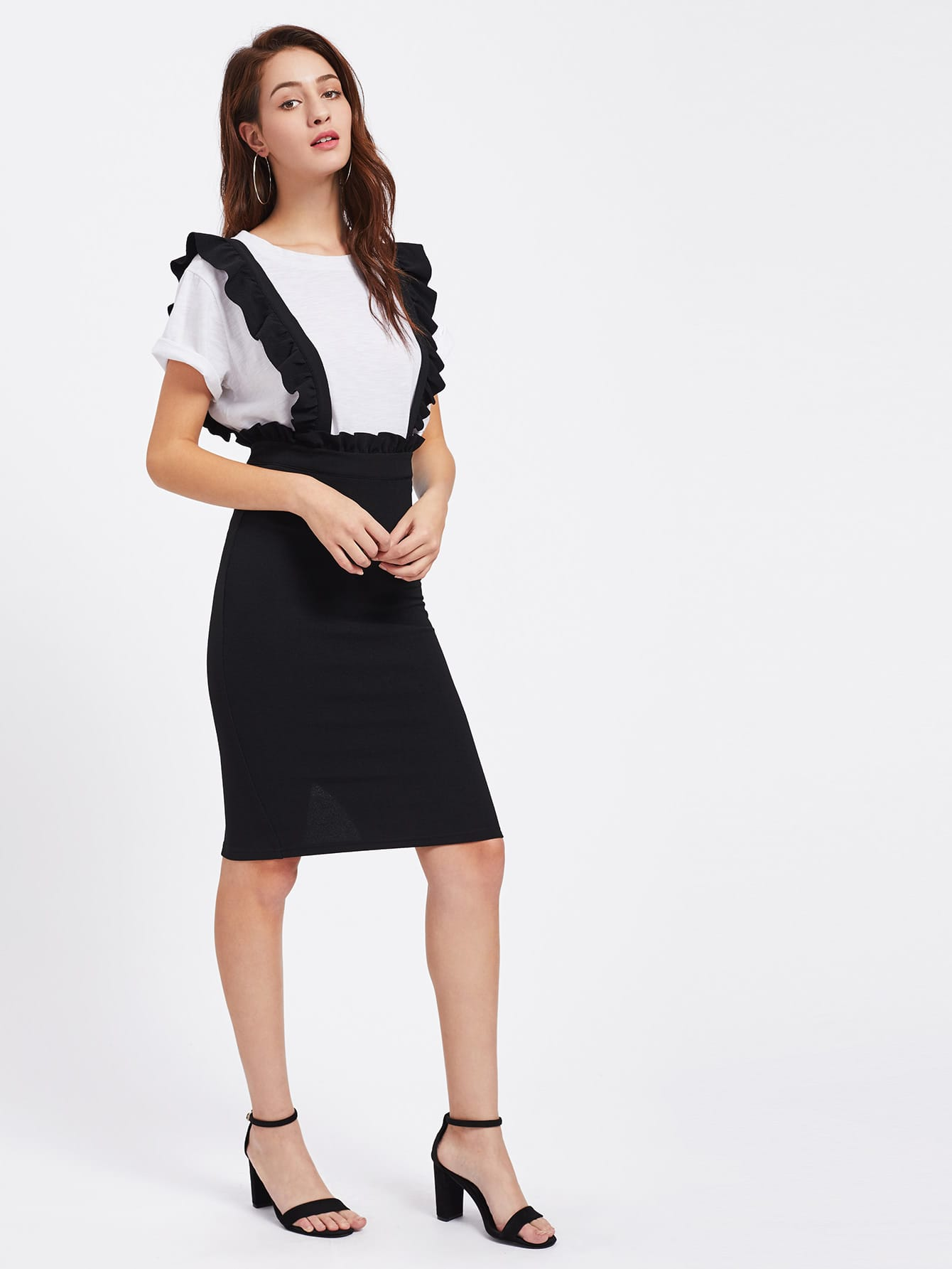 Frill Detail Pinafore Skirt