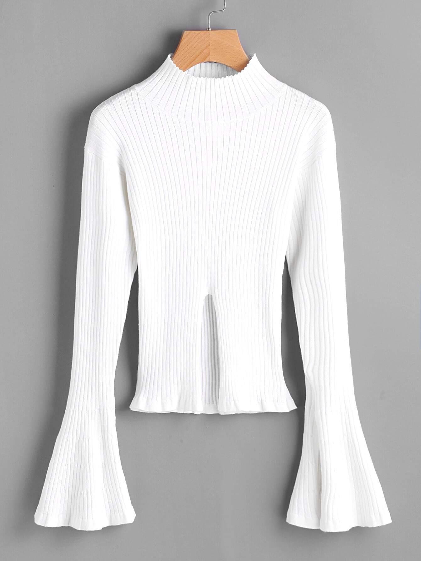 Rib Knit Trumpet Sleeve Slit Jumper sweater170710493