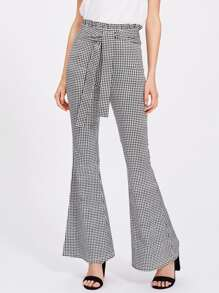 Self Tie Ruffle Waist Gingham Flared Pants