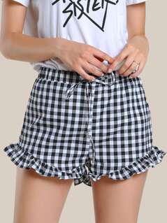 Gingham Print Drawstring Shorts BLACK