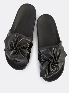 Ruched Twist Patent Slides BLACK