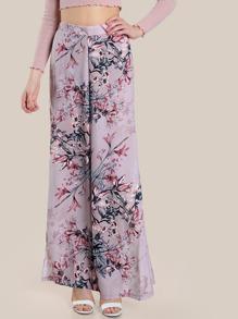 High Rise Floral Print Flowy Pants MAUVE