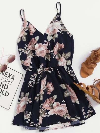 Floral Print Random Surplice Cami Dress