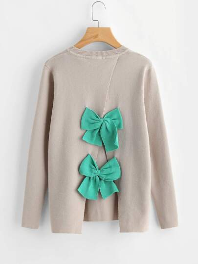 Bow Embellished Overlap Back Jumper
