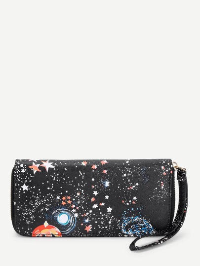 Galaxy Print Zip Around PU Purse