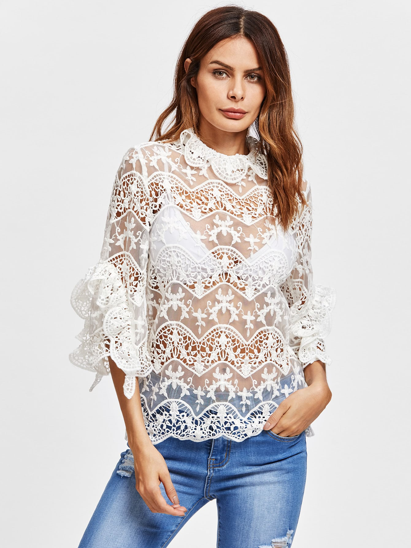 Frill Detail Crochet Insert Embroidered Mesh Top pearl detail layered frill sleeve top