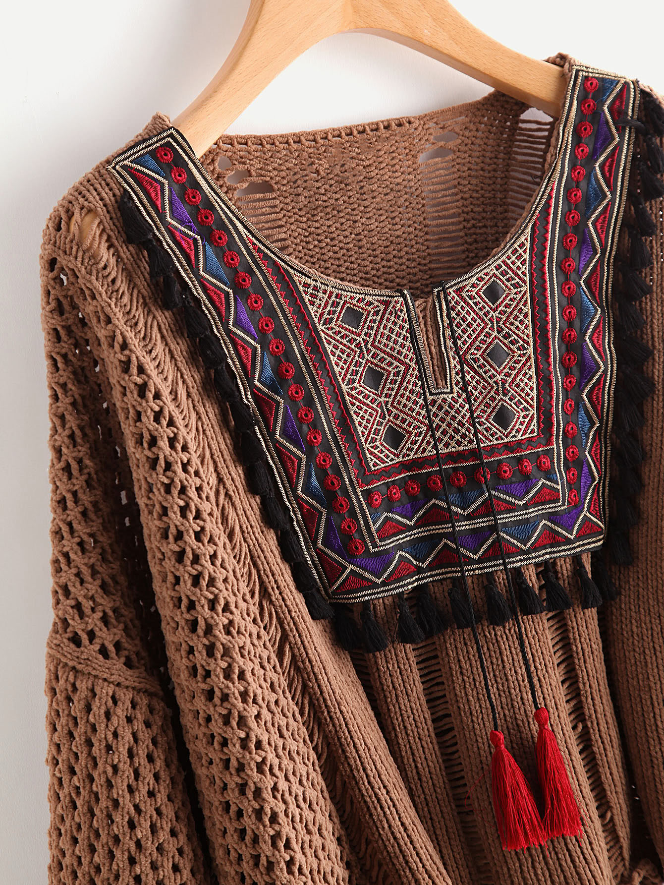 Tasseled Tie Embroidered Yoke Eyelet Jumper
