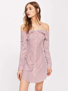Flounce Trim Curved Hem Pinstripe Shirt Dress