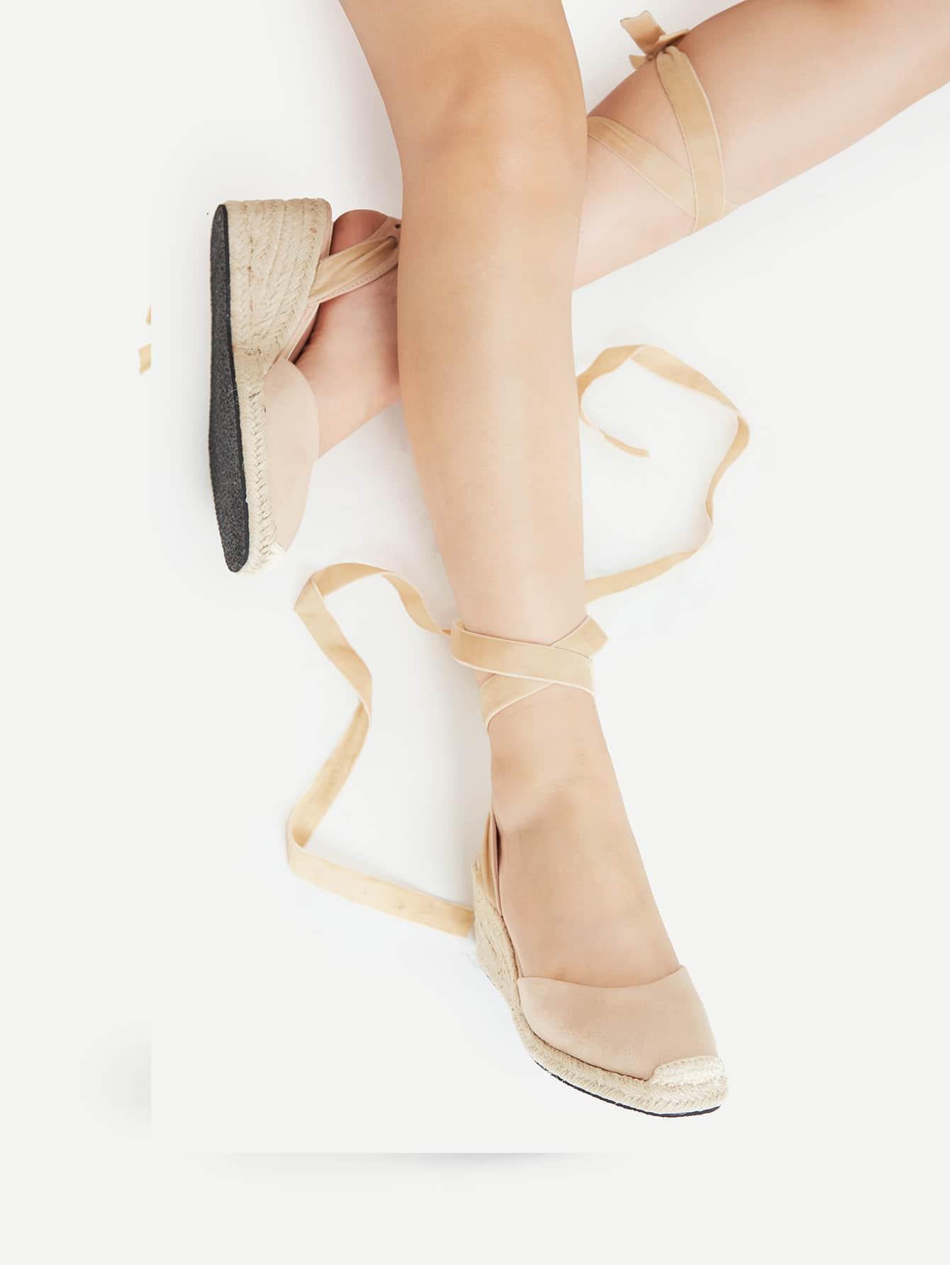 Фото Cap Toe Tie Leg Woven Wedges. Купить с доставкой