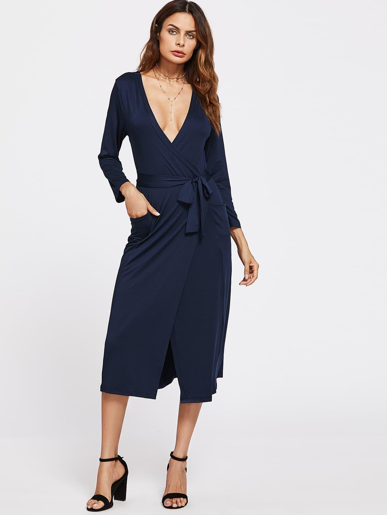 Фото Deep V Neckline Surplice Front Dress. Купить с доставкой
