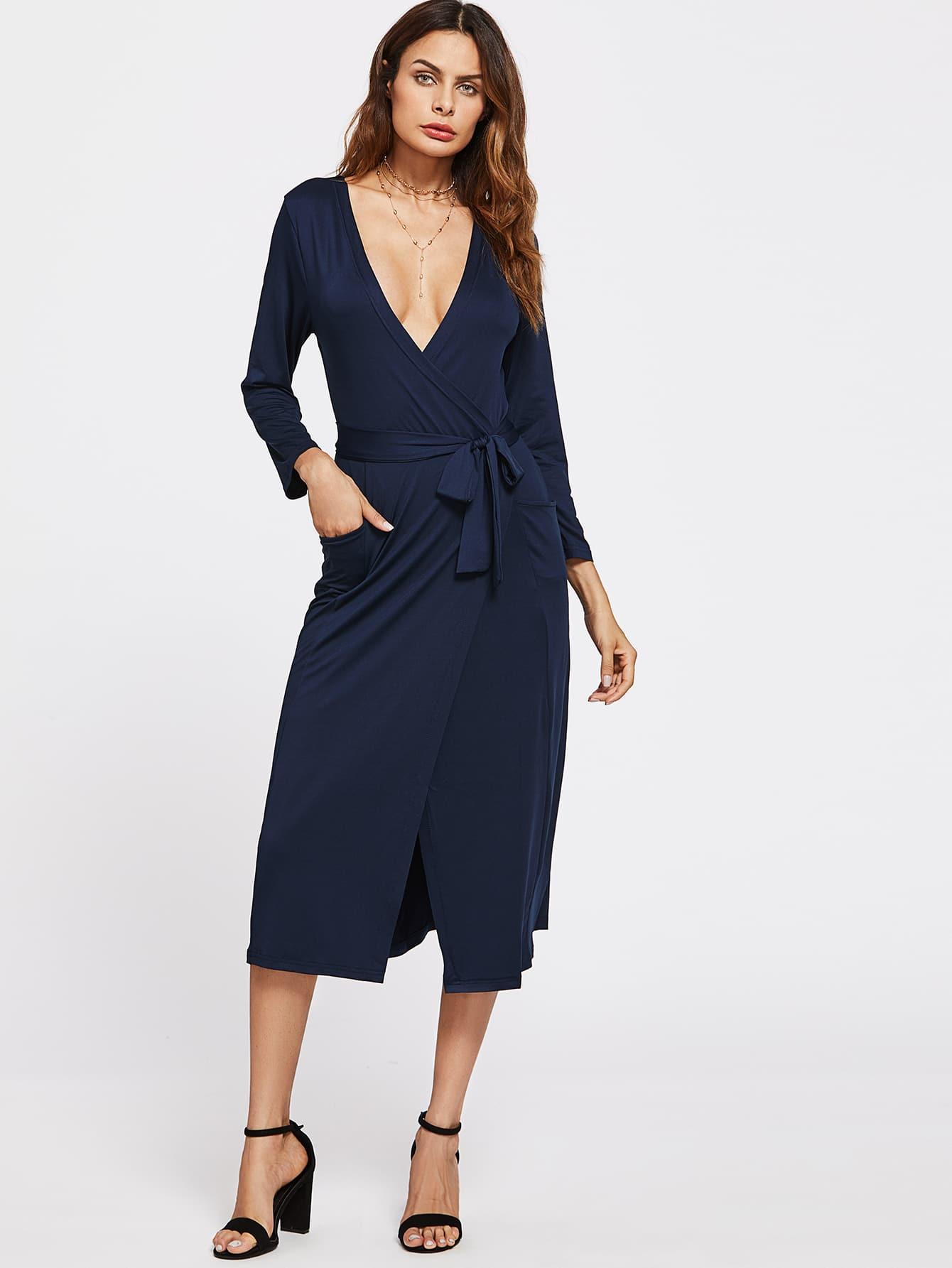 Deep V Neckline Surplice Front Dress dress170714332