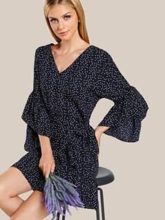 Dotted Ruffle Hem Quarter Sleeve Dress NAVY