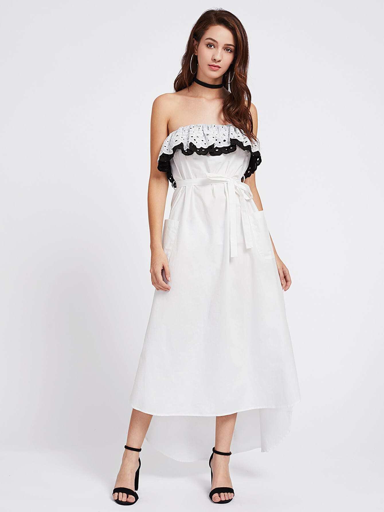 Фото Two Tone Eyelet Embroidered Flounce Bandeau Dress. Купить с доставкой