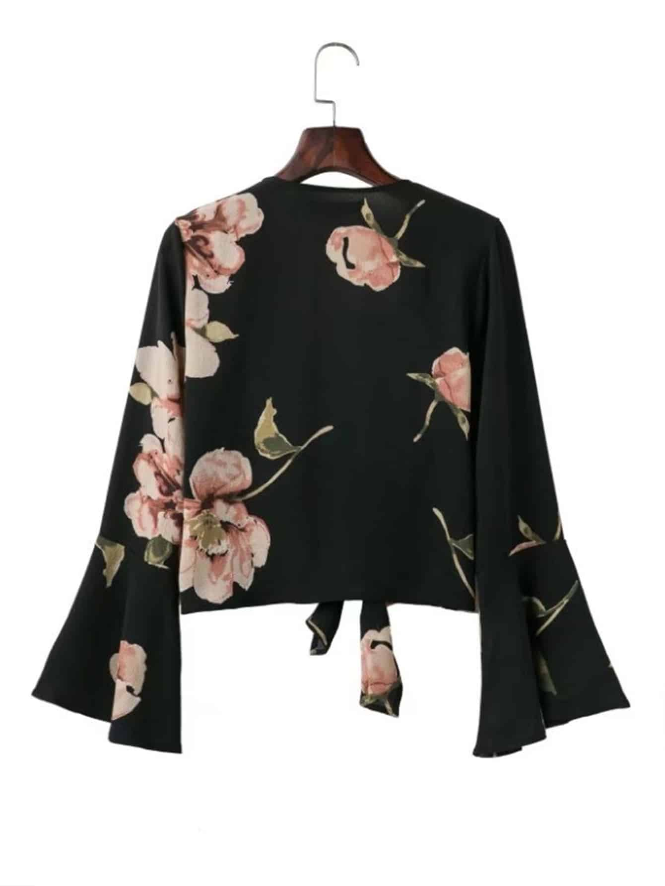 Bell Sleeve Knot Front Top