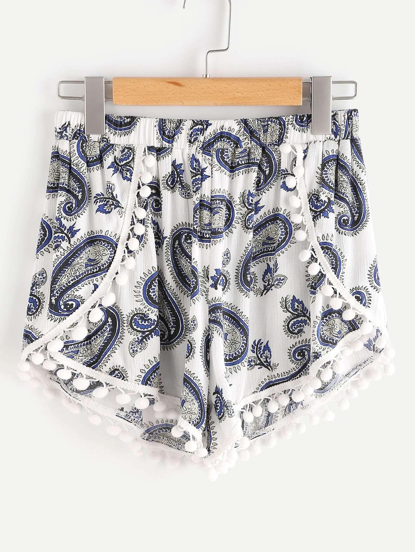 Фото Pom Pom Trim Paisley Print Wrap Shorts. Купить с доставкой