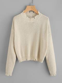 Raw Cut Edge Loose Knit Jumper