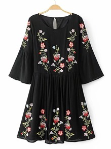 Bell Sleeve Flower Embroidery Keyhole Back Dress