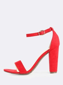 Faux Suede Single Band Ankle Strap Heel RED