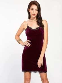 Velvet Contrast Scallop Lace Trim Bodycon Dress