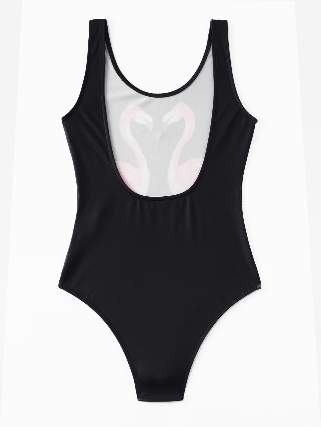 Flamingo Print Backless Tank Bodysuit