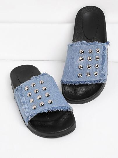 Studded Denim Slip On Sandals