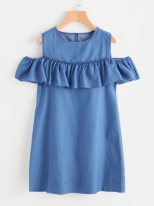 Open Shoulder Frill Trim Chambray Dress