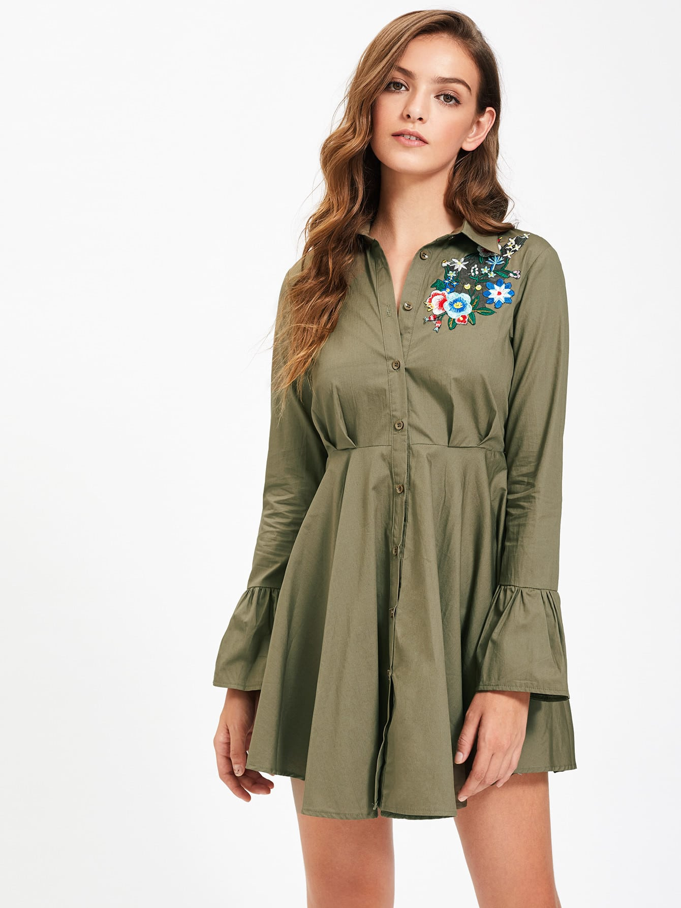 Фото Flower Patch Fluted Sleeve High Waist Shirt Dress. Купить с доставкой