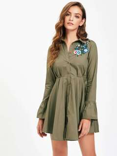 Flower Patch Fluted Sleeve High Waist Shirt Dress