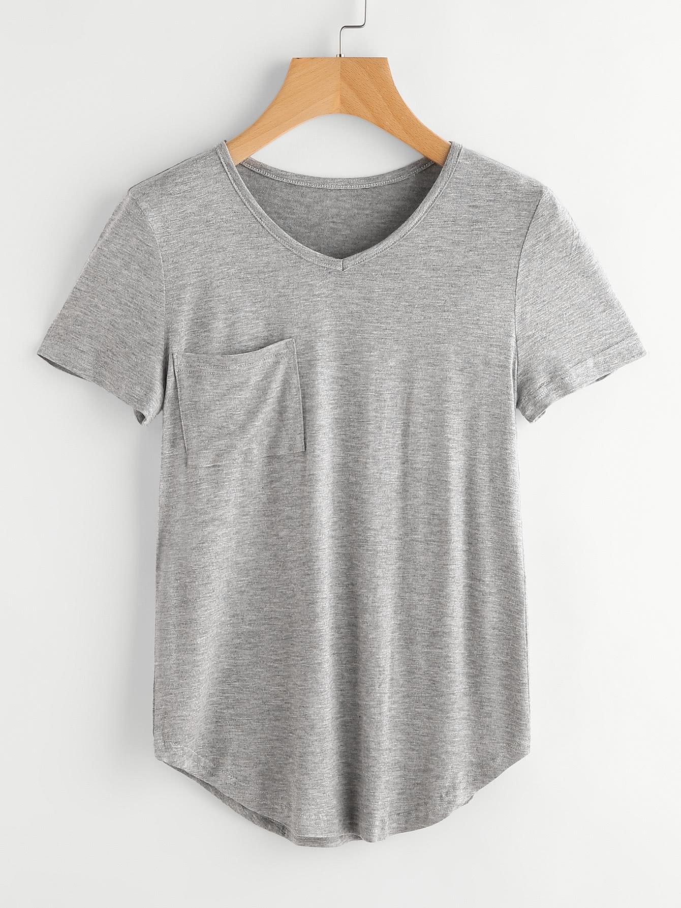 Фото Curved Hem Marled T-shirt. Купить с доставкой
