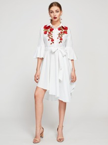 Embroidered Flower Patch Bell Sleeve Self Tie Dress