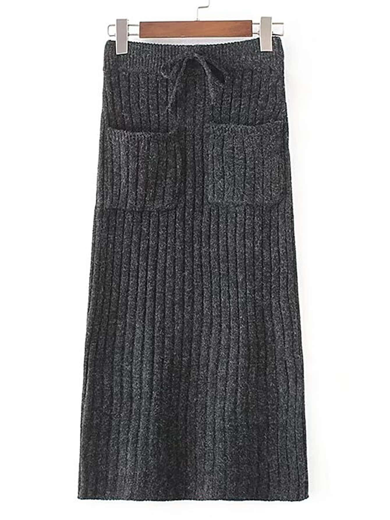 Drawstring Waist Ribbed Knit Skirt skirt170717202