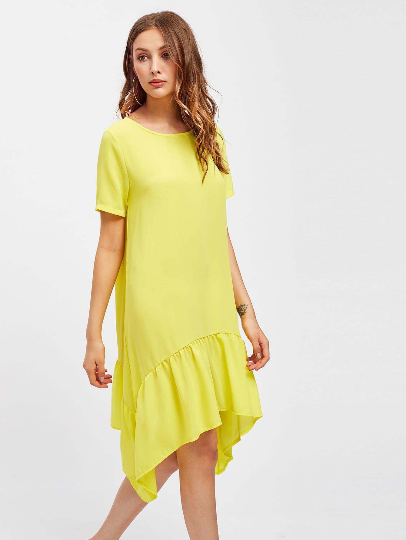 Asymmetrical Frill Hem Tee Dress