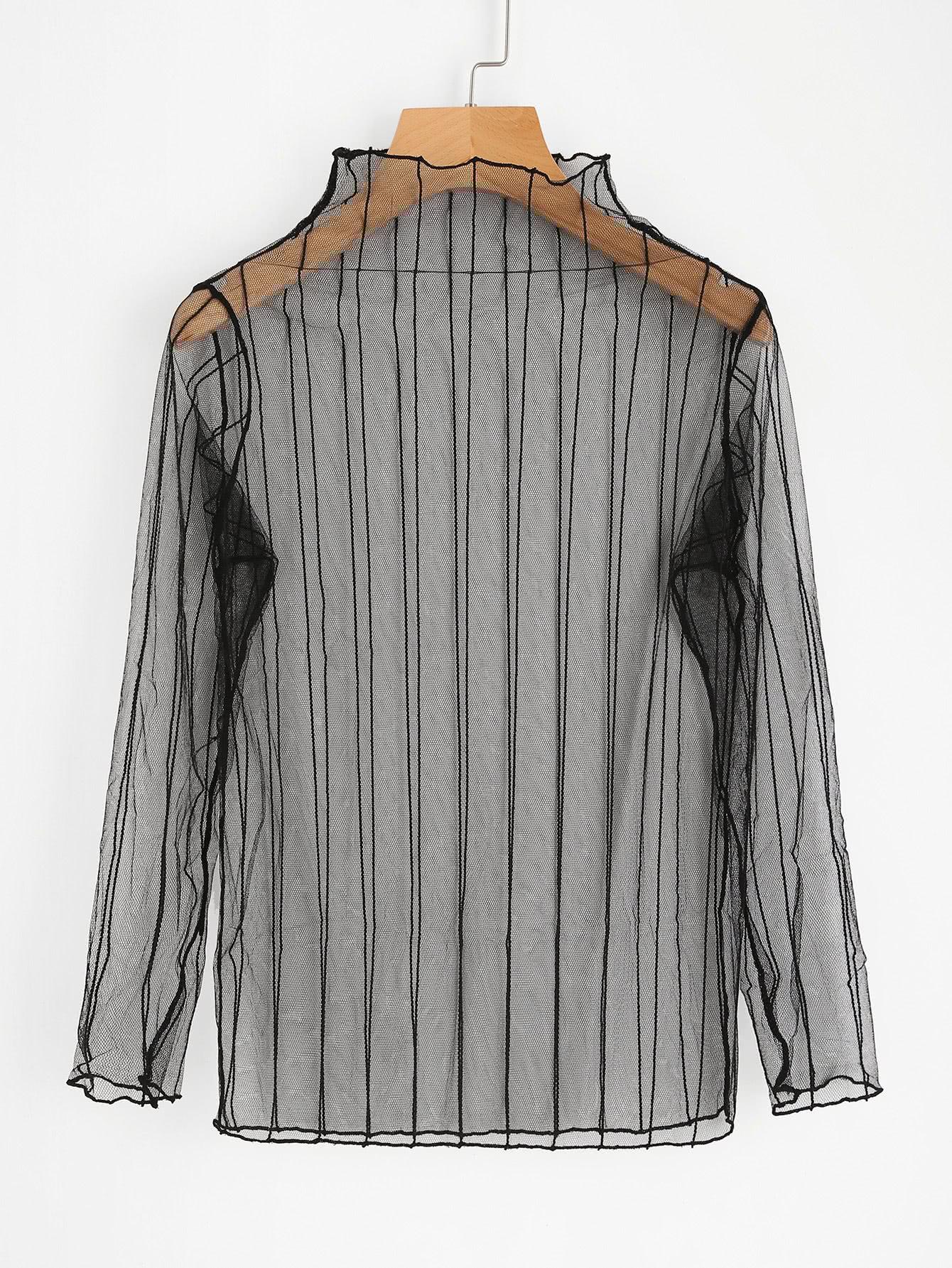 Фото Vertical Striped Sheer Mesh Top. Купить с доставкой