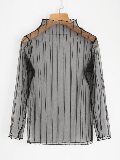Vertical Striped Sheer Mesh Top