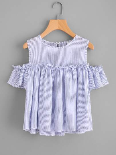 Vertical Striped Open Shoulder Frill Top