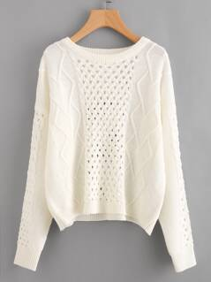 Eyelet Mixed Knit Jumper