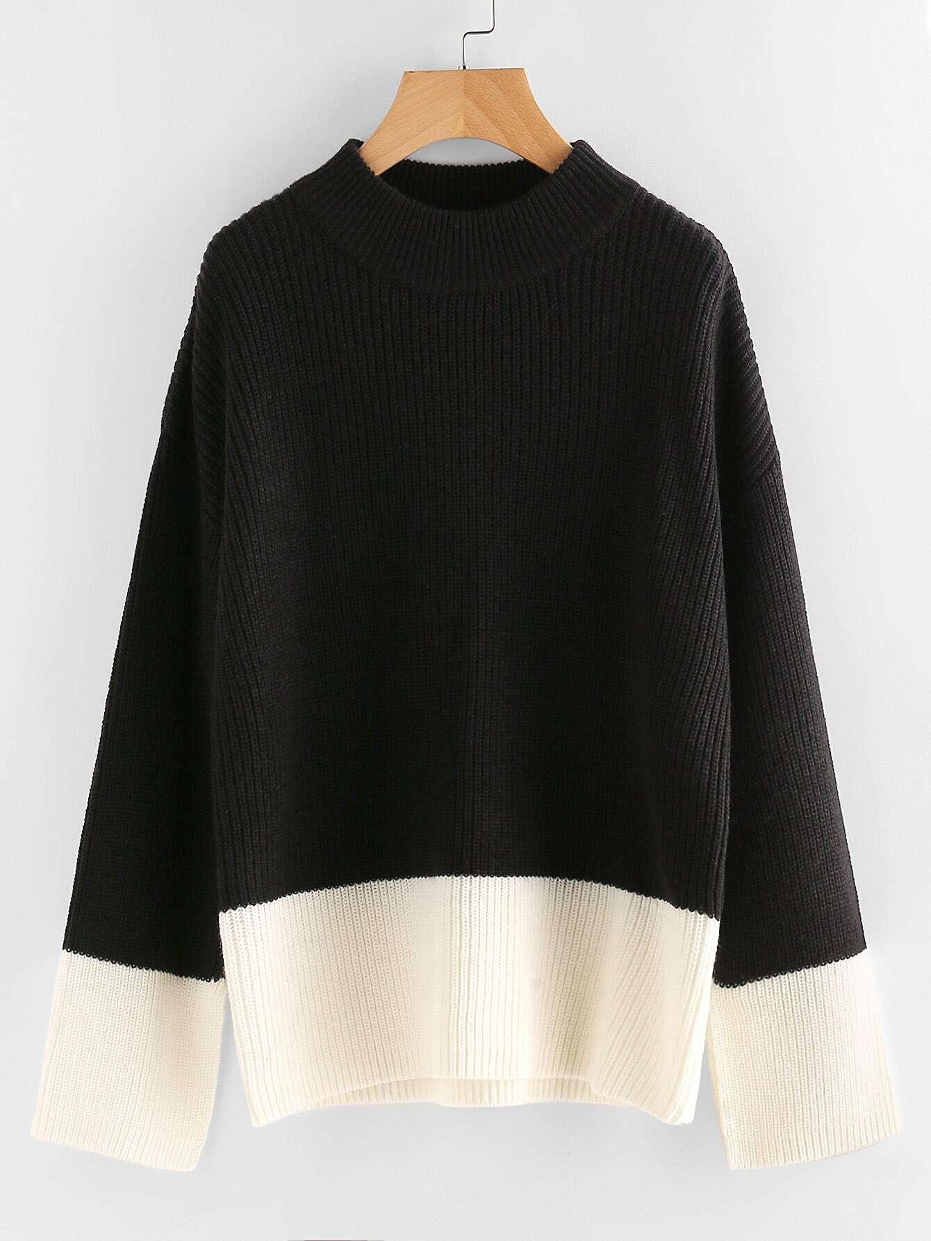 Two Tone Loose Fit Jumper two tone drop shoulder sweatshirt
