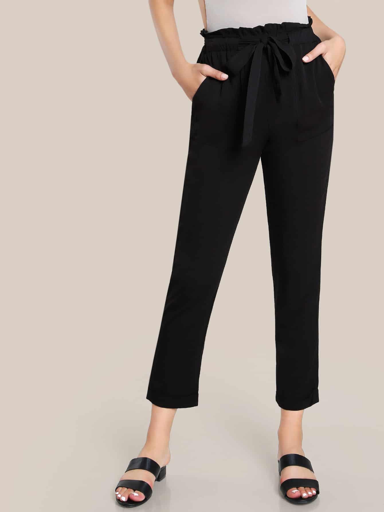 Ruffle Waist Belted Peg Pants ruffle waist belted peg pants