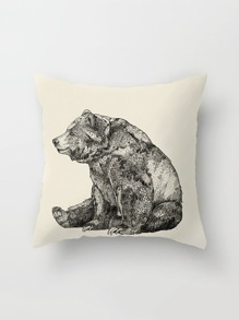 Sketch Bear Print Pillowcase Cover
